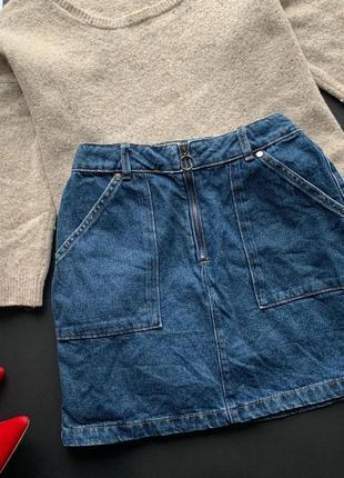 👗стильная джинсовая юбка/синяя джинсовая мини юбка/юбка с карманами👗