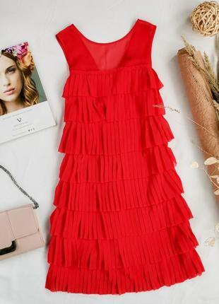 Яркое шифоновое платье с оборками плиссе   dr1947017