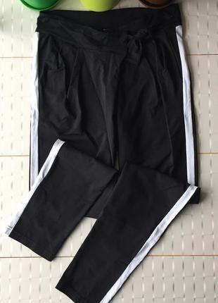 Роскошные брюки джогеры с лампасами высокая талия keepitup