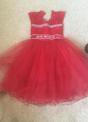 Платье пачка для девочки красное 110