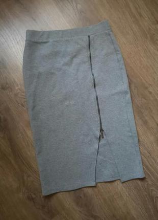 Стильная трикотажная юбка миди карандаш размер 8