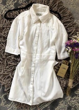 Базовая удлиненная белая  рубашка cherokee с бантиком сзади  и серебристой ниткой