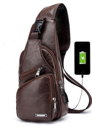 Мужская чоловіча сумка городской рюкзак сумка слинг бананка. pu кожа, 3 цвета