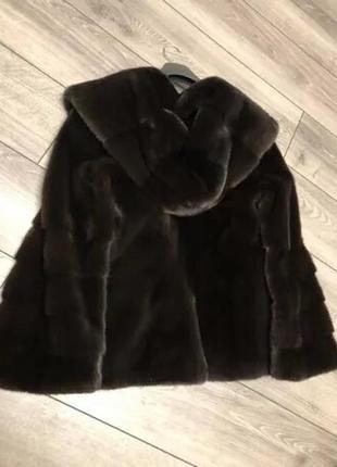 Норковая шуба с капюшоном автоледи полушубок gata fur