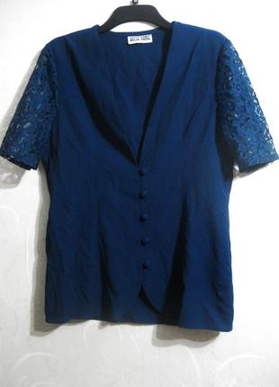 Пиджак блузка belle dame синяя короткий рукав ажурная гипюр