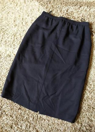 Темно синяя юбка миди карандаш 100%шерсть вержини