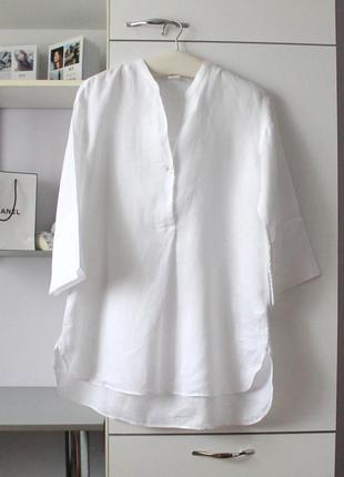 Белая льнаная удлиненная рубашка от archivio 67, 100% лен