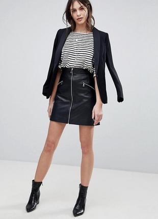 Кожаная натуральная мини юбка черная 100% кожа на молнии с молнией из кожи