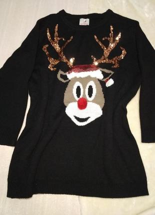 Новогодний свитер. рождественский свитер  . туника платье.новогодний свитер с оленем