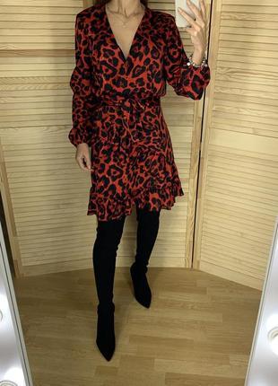 Красное леопардовое платье на запах quiz