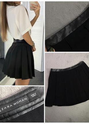 Чёрная юбка с кожаным поясом