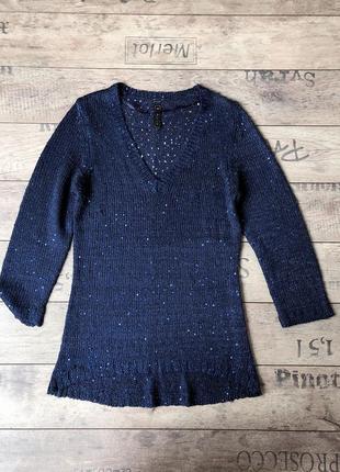 Красивый пуловер с паетками