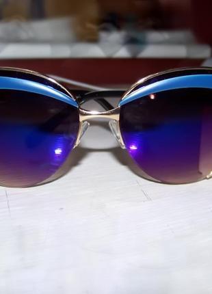 Солнцезащитные очки-стрекозы с бровями и сине-фиолетовым зеркалом антирефлекс италия