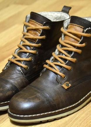 Authentic, оригинал, ботинки мужские зимние, стильные удобные кожаные