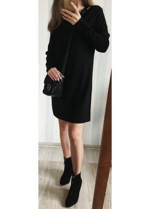 Шерстяное тёплое итальянское чёрное платье monari{italia}