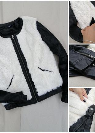 Меховая косуха с кожаными рукавами и вставками/косуха