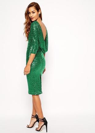 Зеленое платье-футляр с пайетками от asos