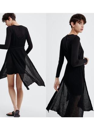 Новое чёрное шерстяное платье миди zara