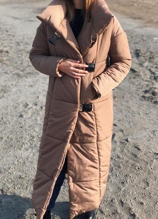 Теплый зимний пуховик макси