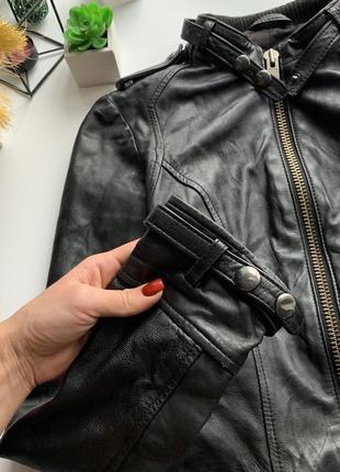Натуральная кожаная куртка косуха / курточка mango  кожа