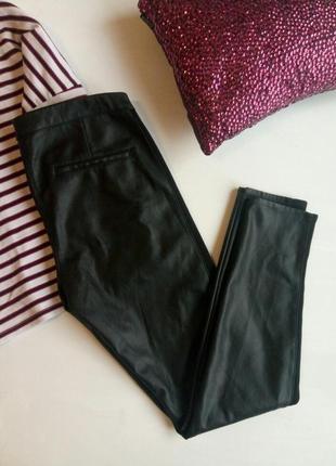 Стильные кожаные штаны с лампасами,  штаны эко кожа