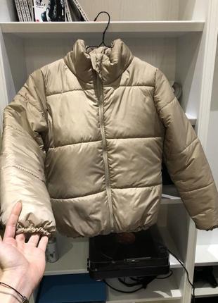 Курточка зефирка дутая бежевая на синтепоне куртка еврозима