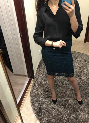 Новая с биркой зелёная ажурна юбка