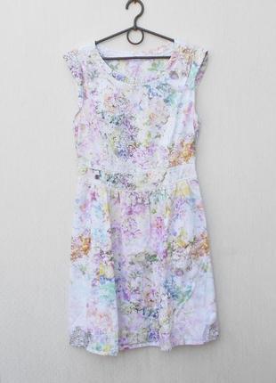 Летнее хлопковое платье в цветочный принт нарядное повседневное 🌿