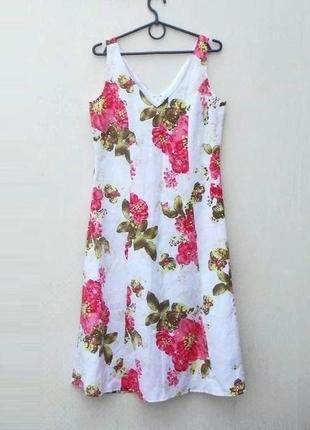 Летнее платье из льна и вискозы с цветочным принтом нарядное повседневное 🌿