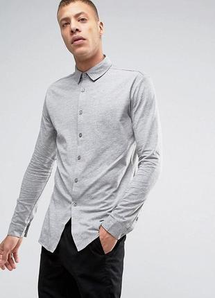 Мужская серая трикотажная хлопковая классическая рубашка с карманом burton menswear london