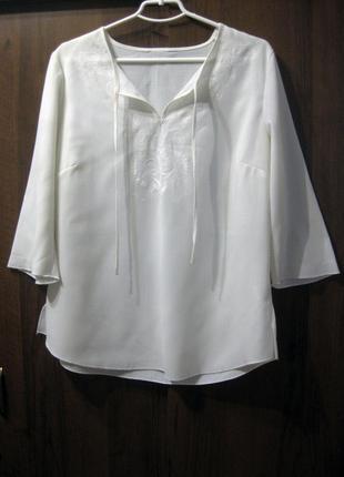 Блузка вышиванка bonmarche белая вышивка четвертной рукав