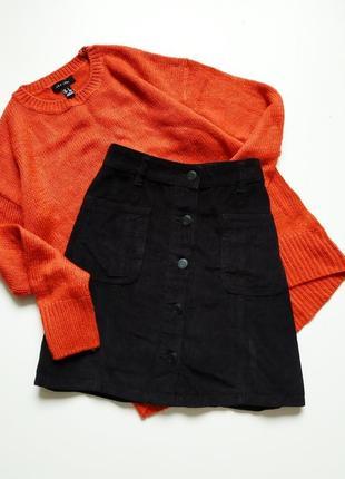 Вельветовая юбка -трапеция с пуговицами от next