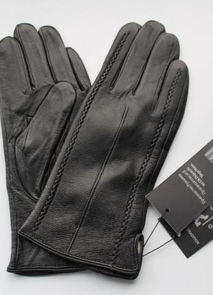 Кожаные женские перчатки, подкладка шерстяная вязка
