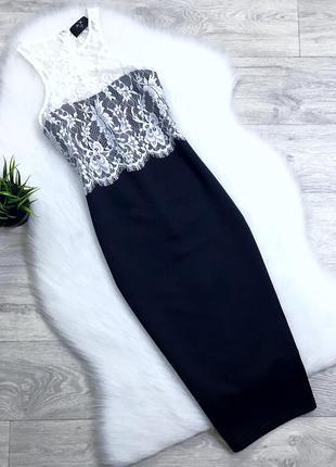 Платье миди с кружевным декольте