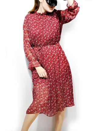 Платье шифоновое с гофрированием! размер s-m