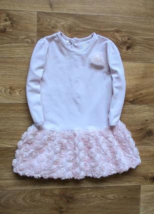 Нежно розовое платье в розах
