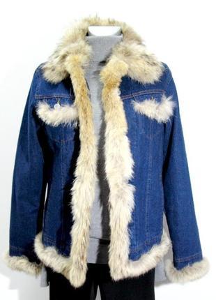 Джинсовая куртка с отделкой из натурального меха danaida