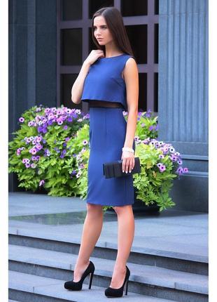 Платье-сарафан темно-синего цвета с черным laura bettini