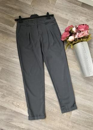 Легкие серый штаны чиносы, брюки на высокой посадке h&m