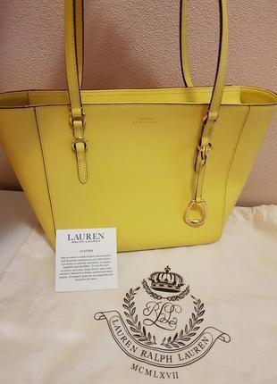 Яркая желтая кожаная сумка ralph lauren, оригинал!