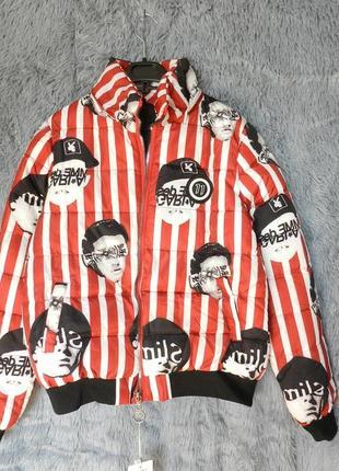 ✅ дутая полосатая куртка оригинальный принт