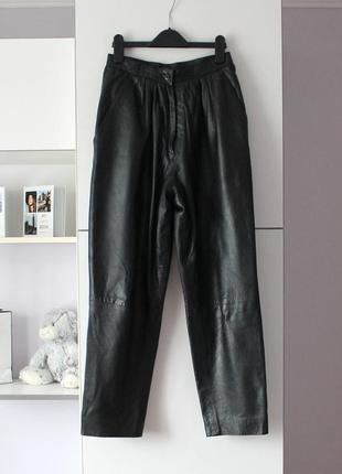 Кожаные винтажные брюки на высокой талии