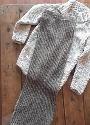 Длинная теплая шерстяная макси юбка вязанная