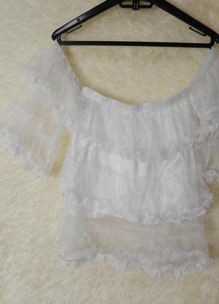 ✅ прозрачная блуза топ сетка с рюшами воланами открытые плечи