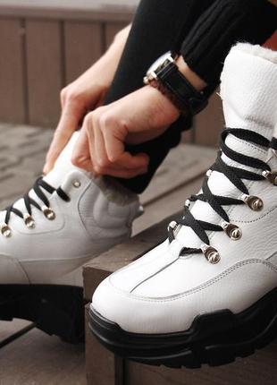 Белые кожаные зимние ботинки на платформе, ботинки кожа зима