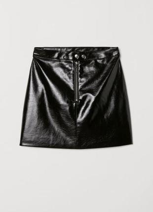 Новая с биркой кожаная юбка,лакированная юбка,актуальная черная юбка с молнией спереди h&m
