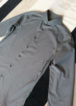 Серая приталенная рубашка michael kors