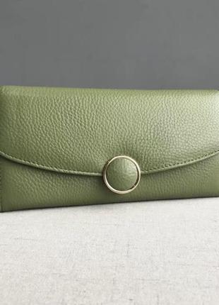 Кожаный женский кошелёк,голубой кошелек, зелёный кошелёк