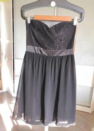 Черное вечернее короткое коктейльное платье sisters point
