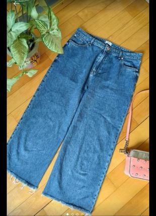 Джинсы кюлоты высокая посадка мом джинсы необработанные края очень классные!